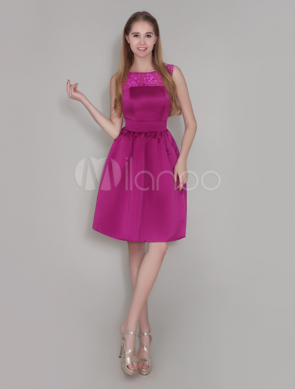Buy Magenta Bridesmaid Dress Satin Pleated Cocktail Dress Backless Jewel Neck Sleeveless Knee Length Wedding Party Dress Wedding Guest Dress for $89.99 in Milanoo store