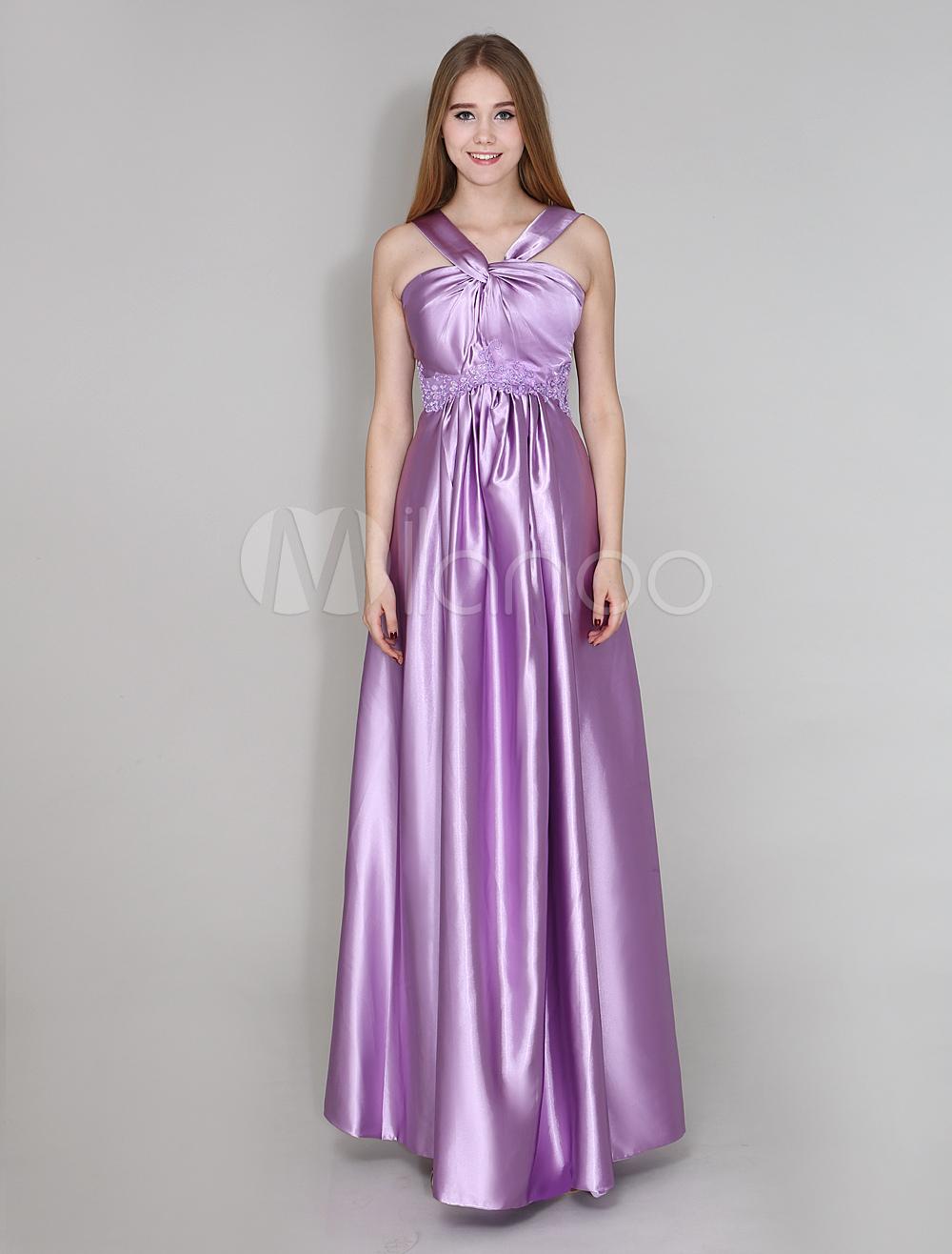 Vestido de damas de honor de seda elástica con escote halter hasta ...
