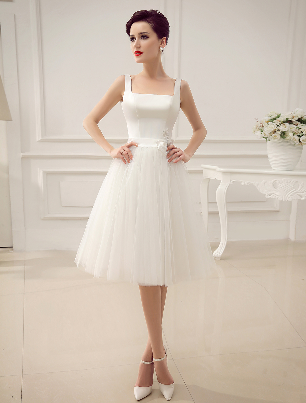 Square Neck Applique Satin Short Wedding Dress with Beading Bow Sash ...