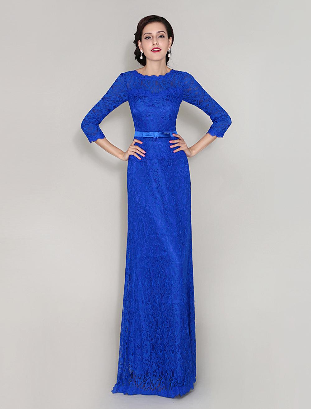 Elegant Jewel Neck Floor-Length Sleeves Lace Dress With Lovely Bowknot Belt