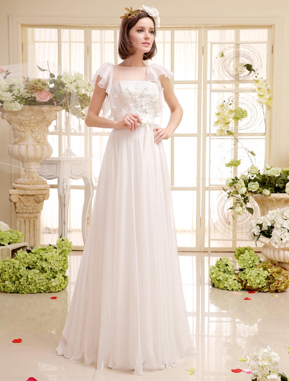 Buy Floor-Length Wedding Dress For Bride With Beading Jewel Neck Chiffon Milanoo for $149.99 in Milanoo store