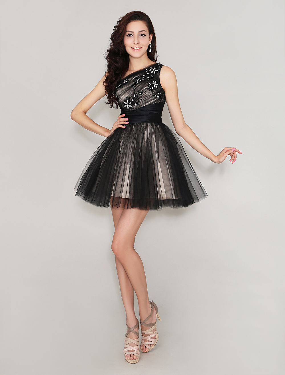 One-Shoulder Pleated Pretty Tulle Short Homecoming Dress With Beading Milanoo