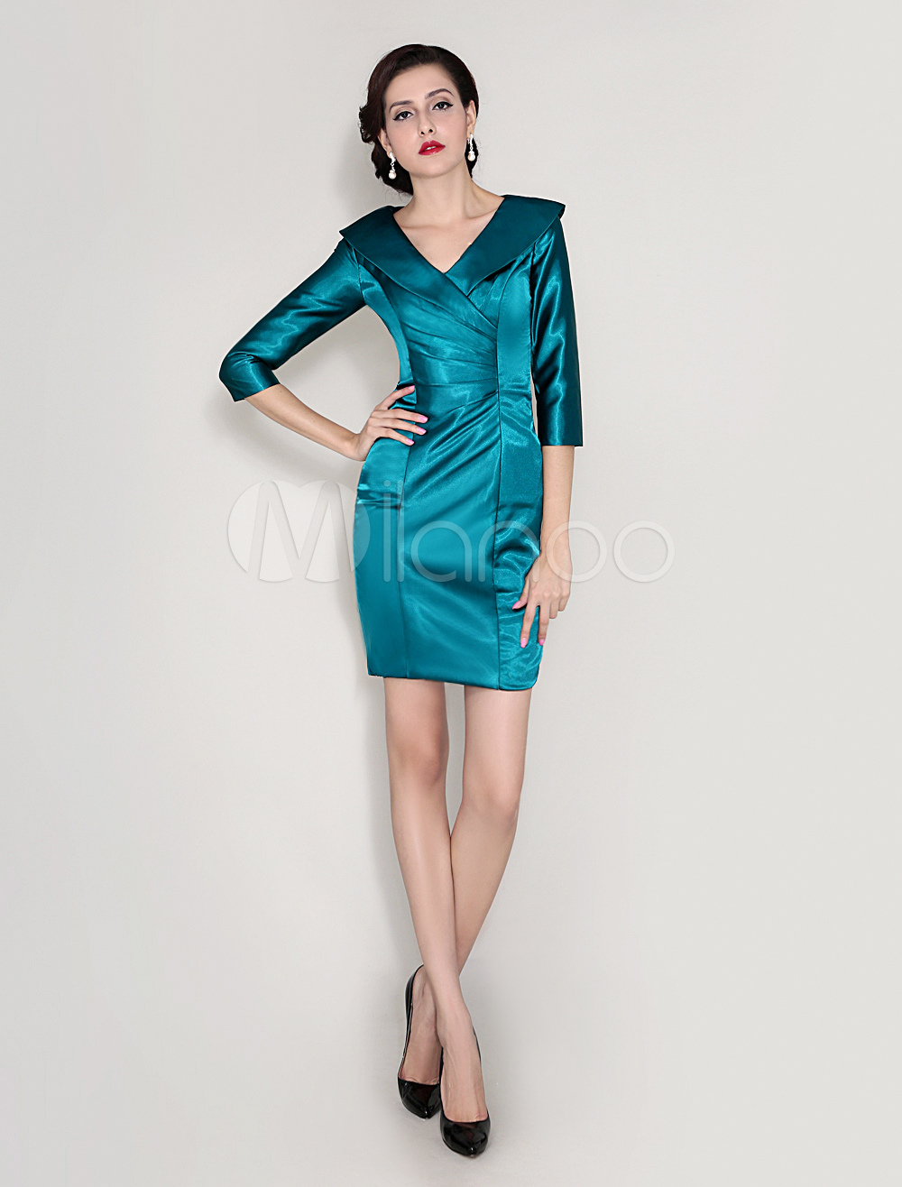 Buy Sheath V-Neck Pleated Elastic Woven Satin Dress For Mother Of Bride Wedding Guest Dress for $92.69 in Milanoo store
