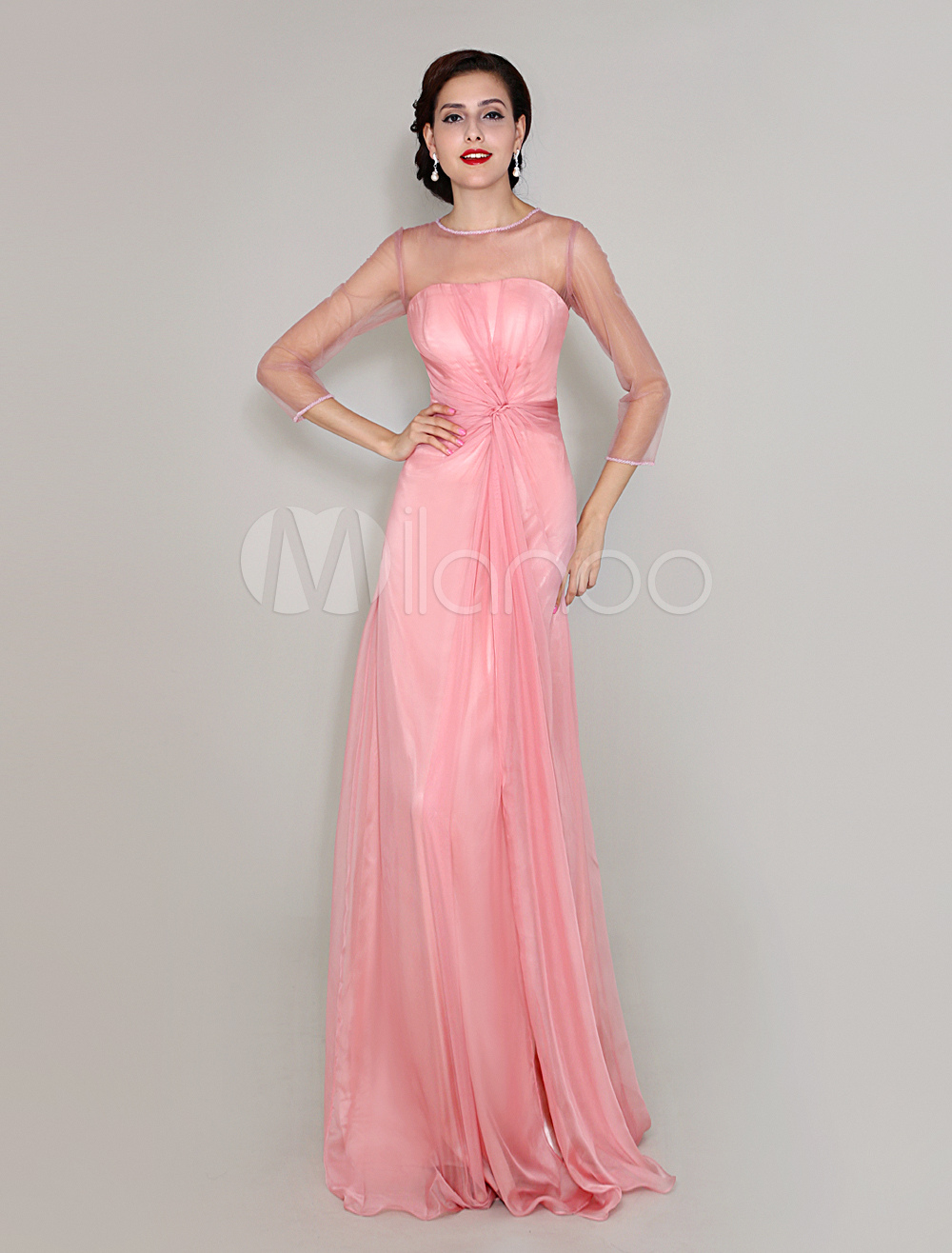 3/4 Length Sleeves Floor-Length Crewneck Chiffon Mother Of Bride Dress With Pleated