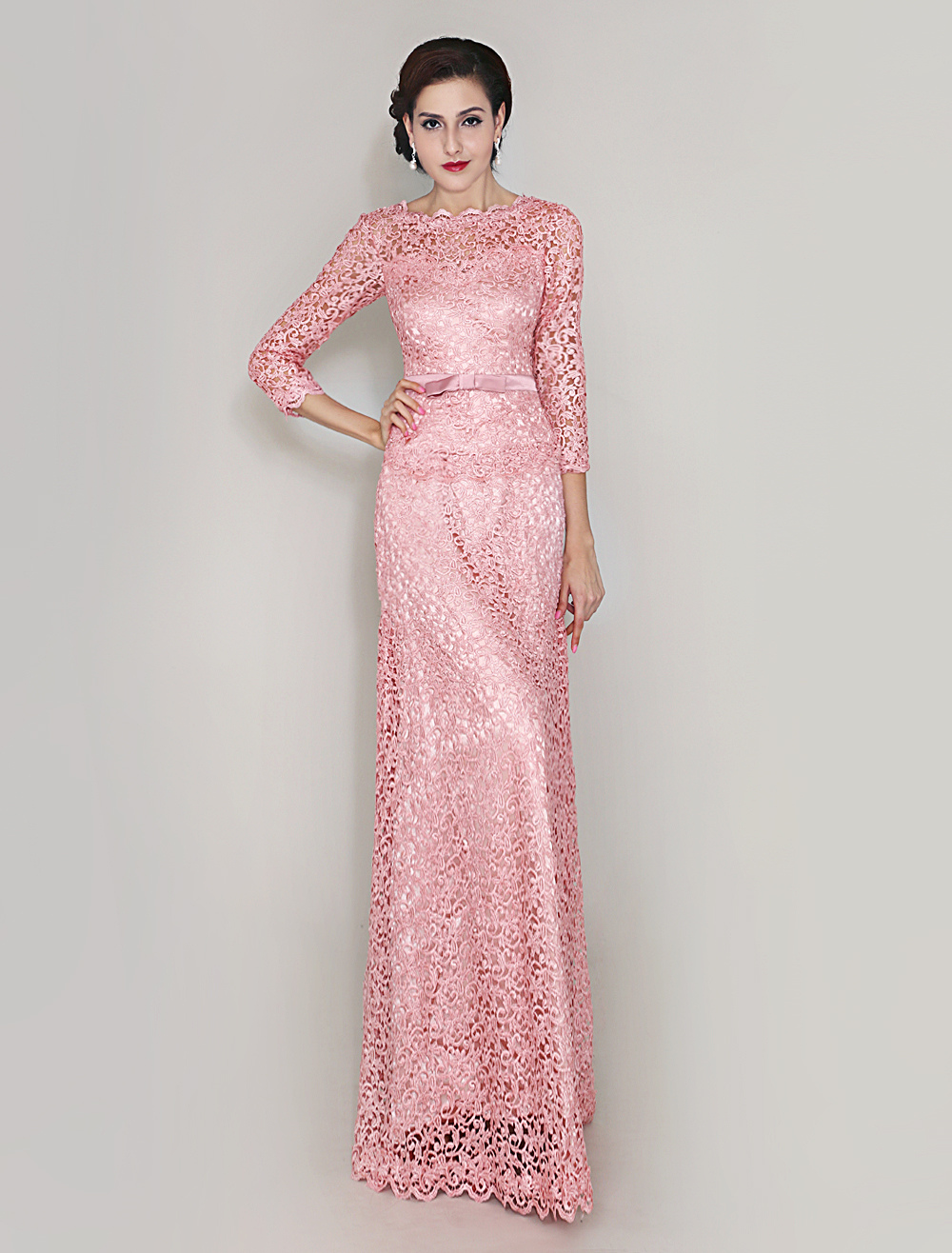 Pink Sheath Lace Dress For Mother of Bride