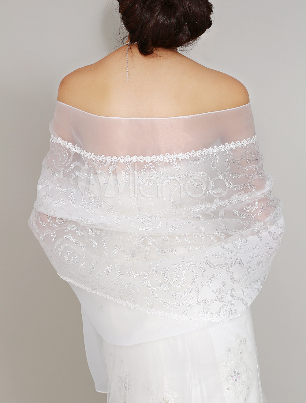 Buy Ivory Sequin Lace Organza Bridal Wedding Shawl for $34.99 in Milanoo store