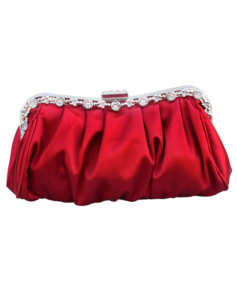 Buy Formal Red Satin Rhinestone Woman's Evening Bag With Silver Chain for $17.09 in Milanoo store