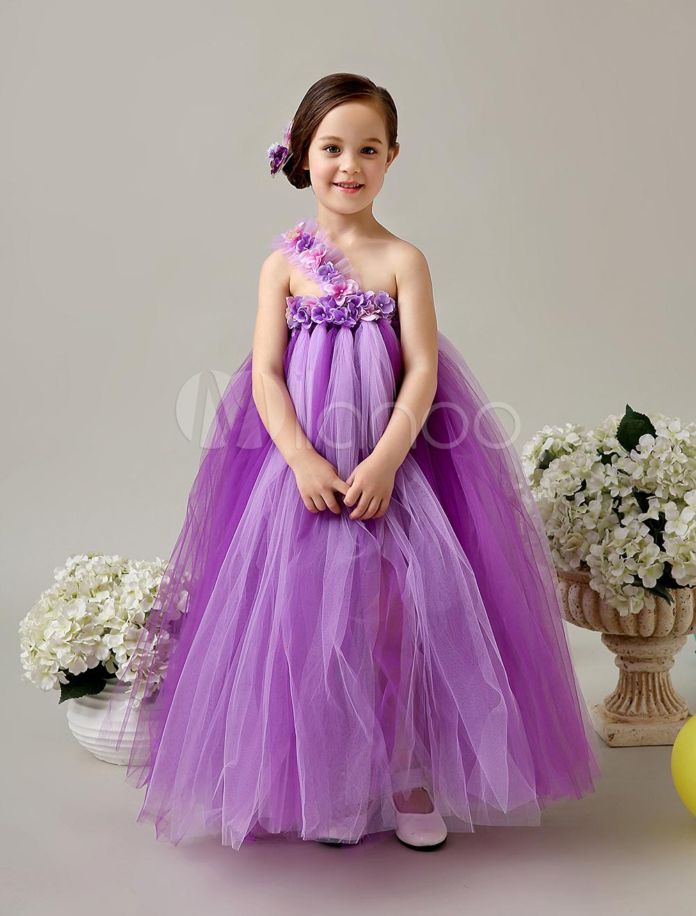 Vestido para las niñas de flores de tul con escote a un solo hombro ...
