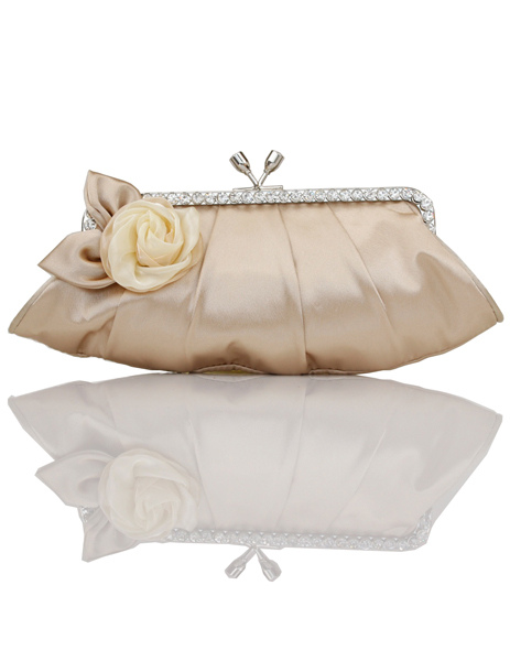 Sweet Champagne Satin Clasp Lock Women's Evening Bag