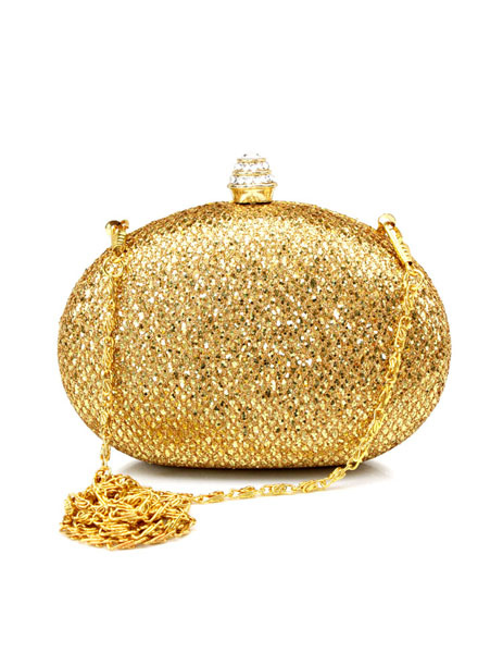 Formal Euro-Style Metallic Gold Metal Woman's Evening Bag With Sequins