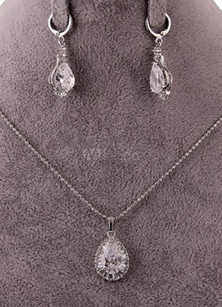 Necklace Jewelry Set Rhinestone Pendant Necklace With Drop Earring 2 Piece Women Jewelry Set