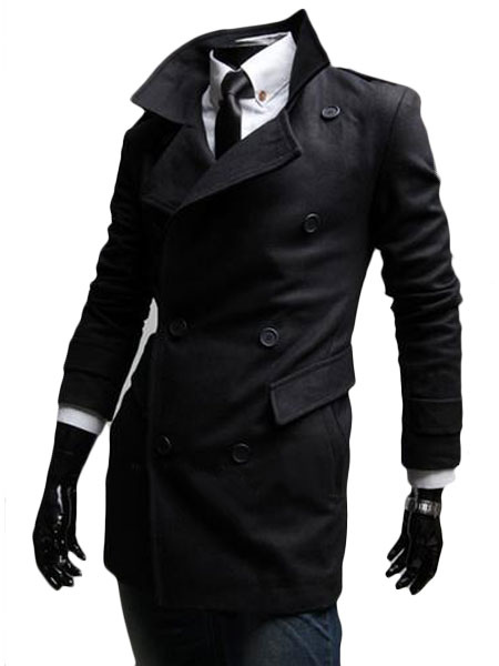 Synthetic Quality Double-breasted Shaping Men's Pea Coat