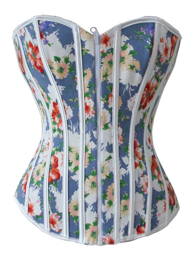 Blue Zipper Cotton Reversible Lace-up Slender Women's Corsets
