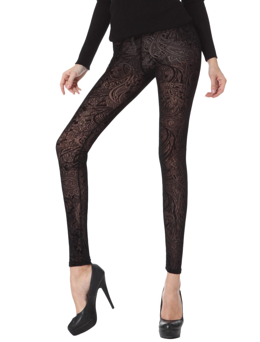 Vintage Black Lace Jacquard Shaping Leggings For Women