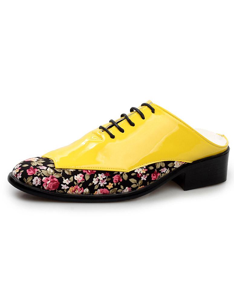 imprimé fleuri découvert et talon homme vernie de Chaussure jaune fUw1qSnTa