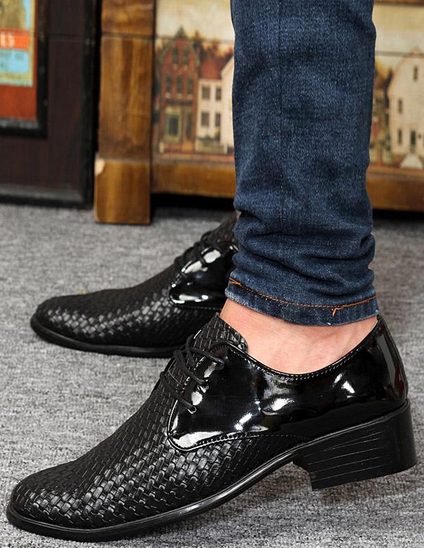 Moderna negro señaló dedo encaje patente PU zapatos de vestir para hombre sIMES4yRHo