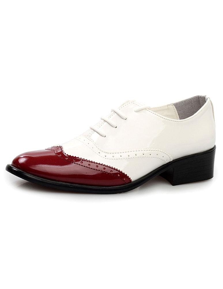 Color bloque corte puntiagudo encaje patente PU zapatos de vestir de hombre bzQMkg