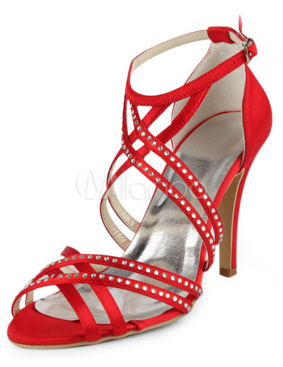 Buy Red Strappy Peep Toe Silk And Satin Grace Women's Evening Shoes for $61.74 in Milanoo store