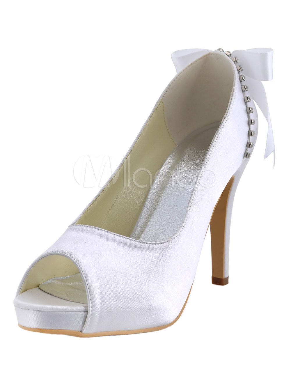 Buy White Silk And Satin Peep Toe Slip-On Rhinestone Bridal Platforms for $50.39 in Milanoo store