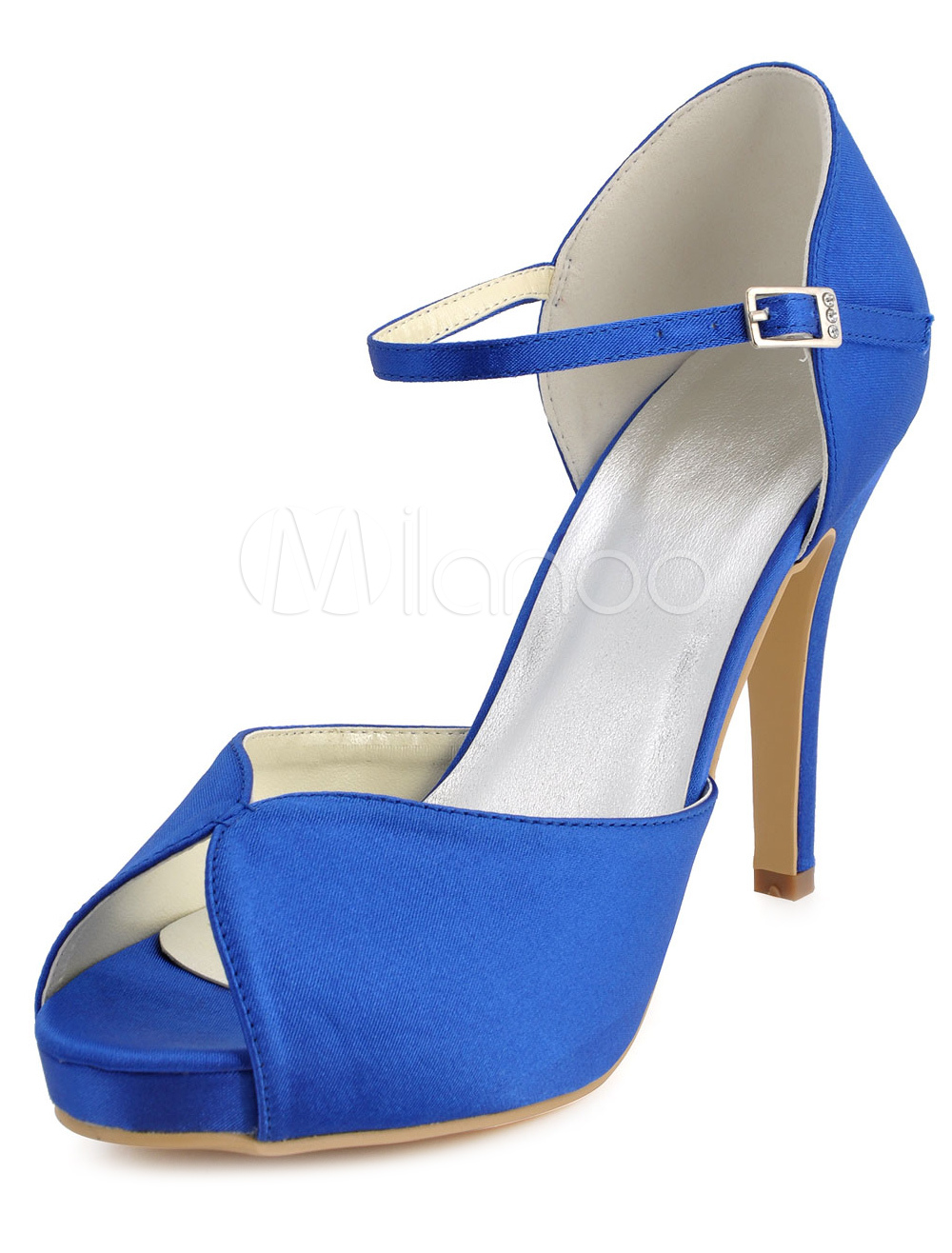 Buy Deep Blue Ankle Strap Peep Toe Silk And Satin Evening and Bride's Platforms for $56.99 in Milanoo store