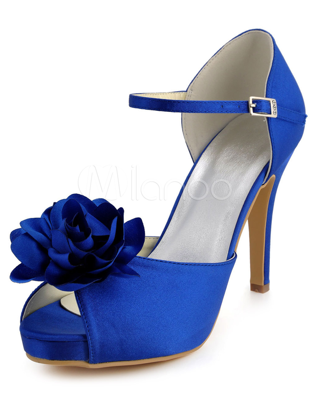 Buy Ankle Strap Peep Toe Silk And Satin Flower Bride's Evening Shoes for $50.39 in Milanoo store