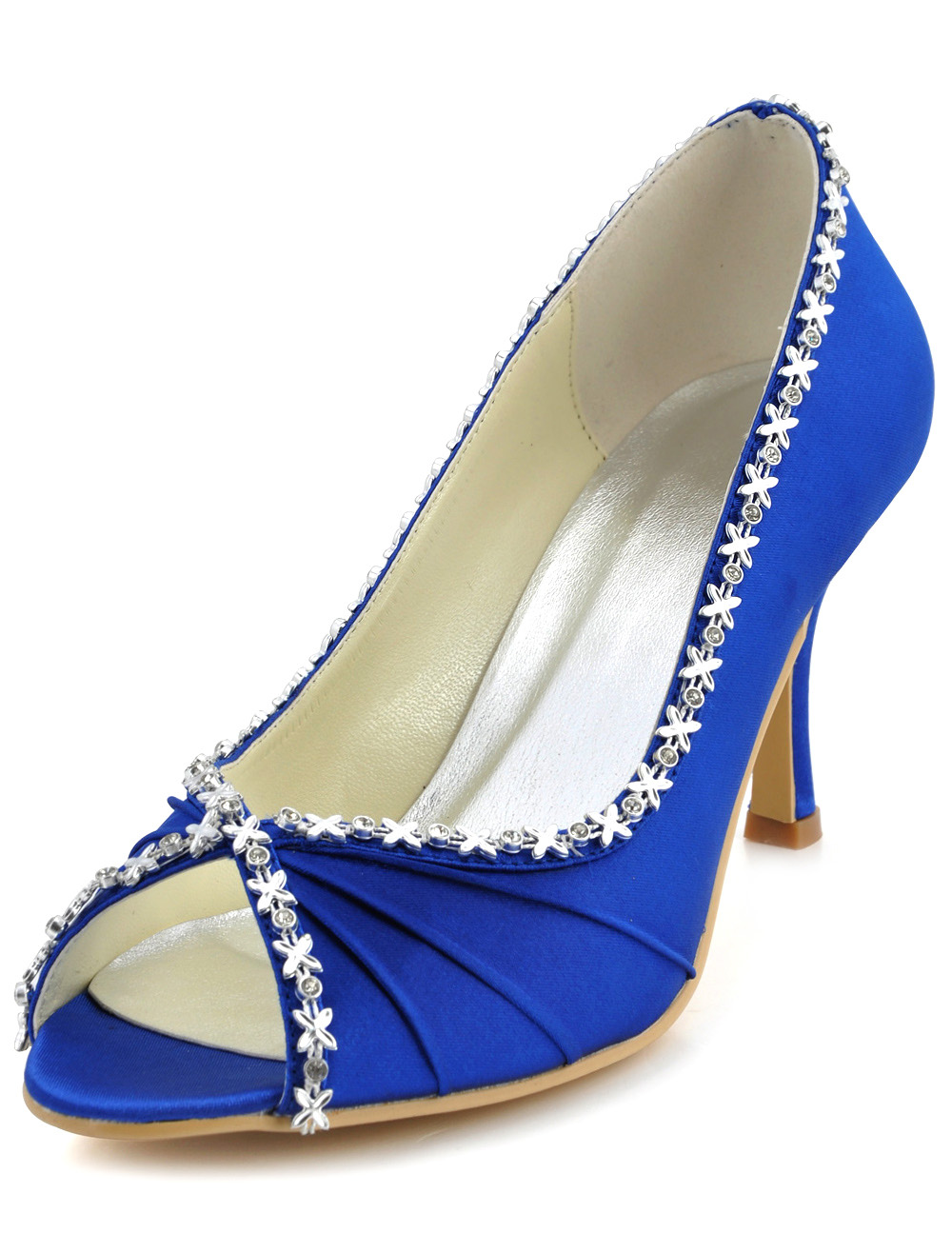 Deep Blue Silk And Satin Rhinestone Peep Toe Shoes for Bride
