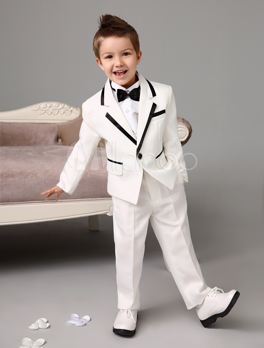 Boy Suit Set Wedding Tuxedo Jacket Pants Shirts Bow Tie Ivory Kids Formal Wear 4 Pcs Ring Bearer Suit