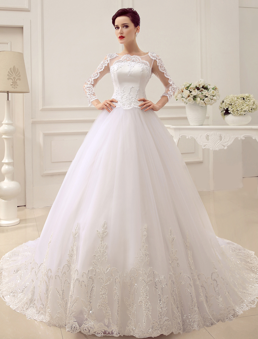 Princess Wedding Dresses Long Sleeve Bridal Gown Lace Applique Sequin Beaded Illusion Ball Gown Bridal Dress With Train Milanoo