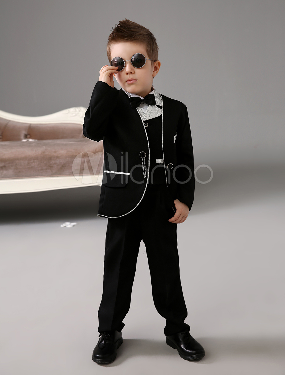 Black Jacket Patterned Lapel Chained Kid's Ring Bearer Suits