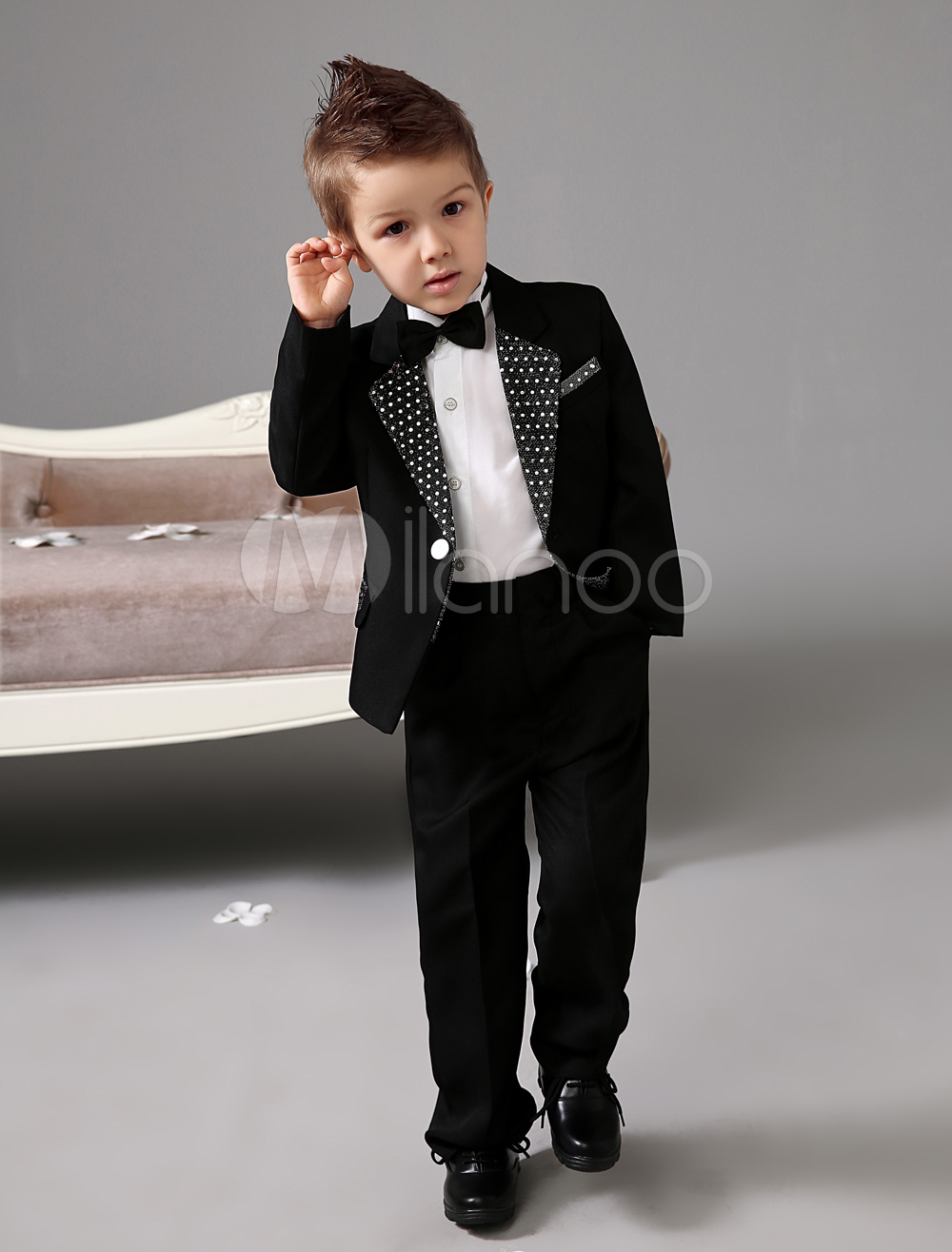 Black Jacket With White Polka Trim White Shirt Kid's Ring Bearer Suit