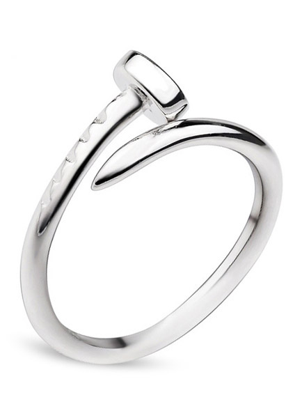 Fashion Stainless Steel Mens Nail Screw Ring