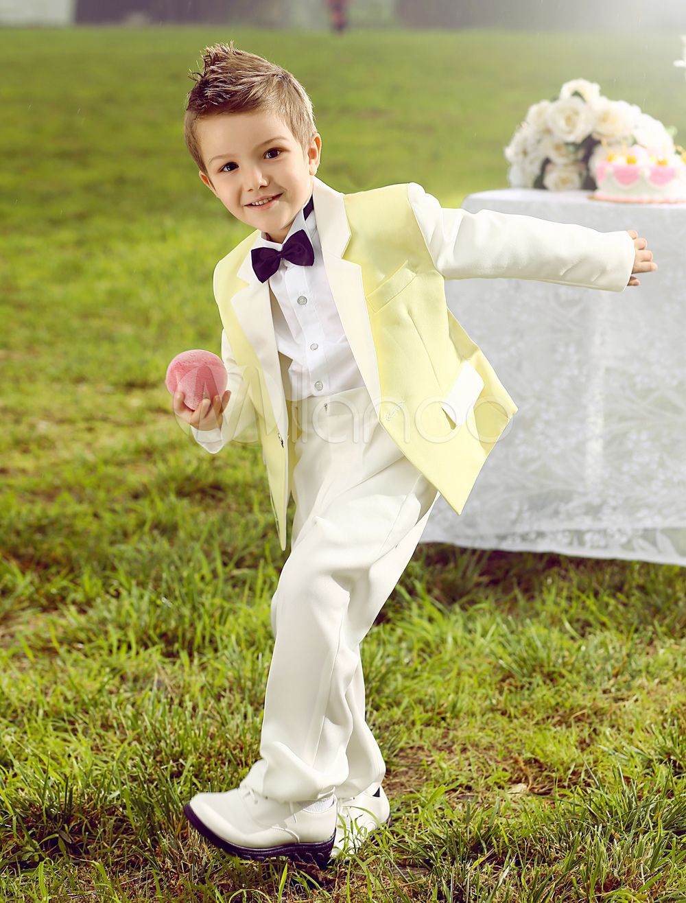 Baby Boy Suit Set Kids Wedding Tuxedo Yellow Jacket Pants Shirts Bow Tie 4 Pcs Ring Bearer Suits