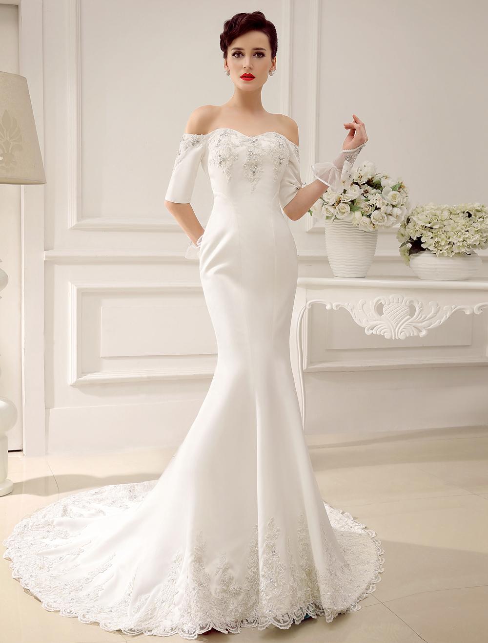 Ivory Sweetheart Neck Mermaid Chapel Train Bridal Beading Wedding Dress Milanoo