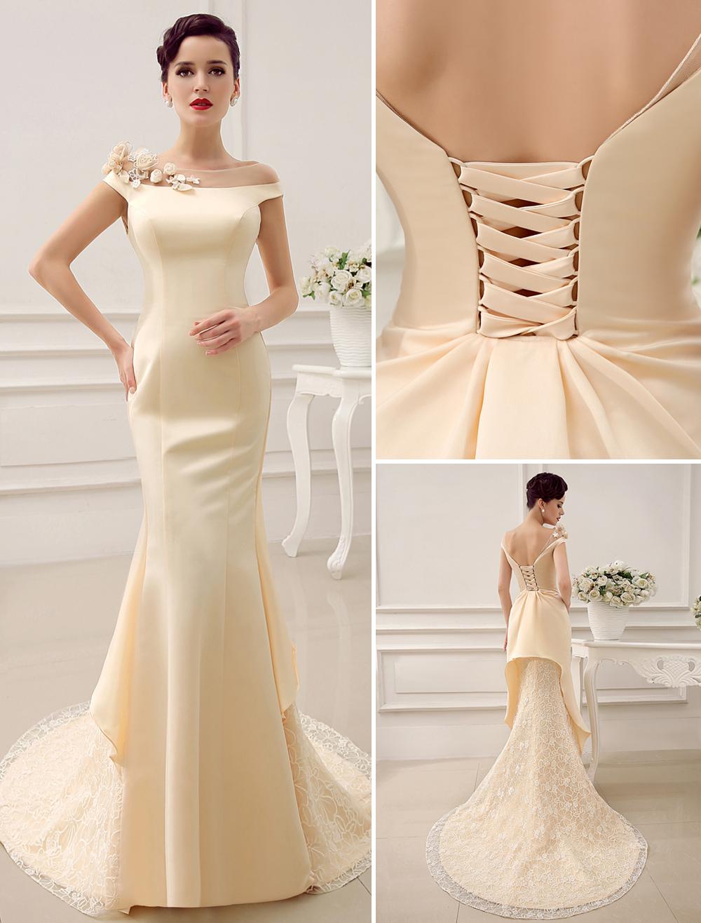 Bateau Neck Shoulder Flower Design Mermaid Court Train Wedding Dress For Bride With Low Back Milanoo