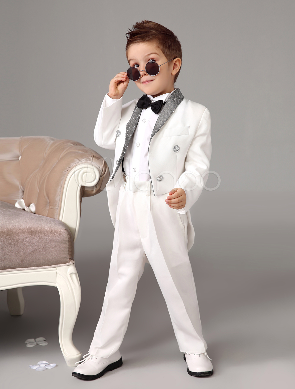 Buy Baby Boy Suit White Kids Wedding Tuxedo Set Jacket Pants Shirts Bow Tie 4 Pcs Ring Bearer Suits for $52.49 in Milanoo store