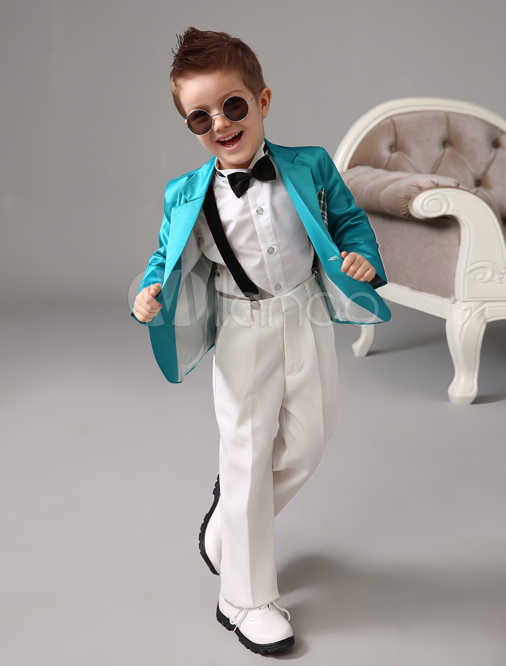 Buy Boy Suit Wedding Tuxedo Blue Jacket Pants Shirts Bow Tie Kids Formal Wear 4 Pcs Ring Bearer Suit Set for $62.99 in Milanoo store