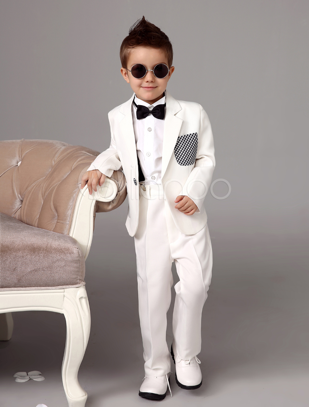 Buy White Boy Suit Wedding Tuxedo Jacket Pants Shirts Bow Tie Kids Formal Wear 4 Pcs Ring Bearer Suit Set for $62.99 in Milanoo store