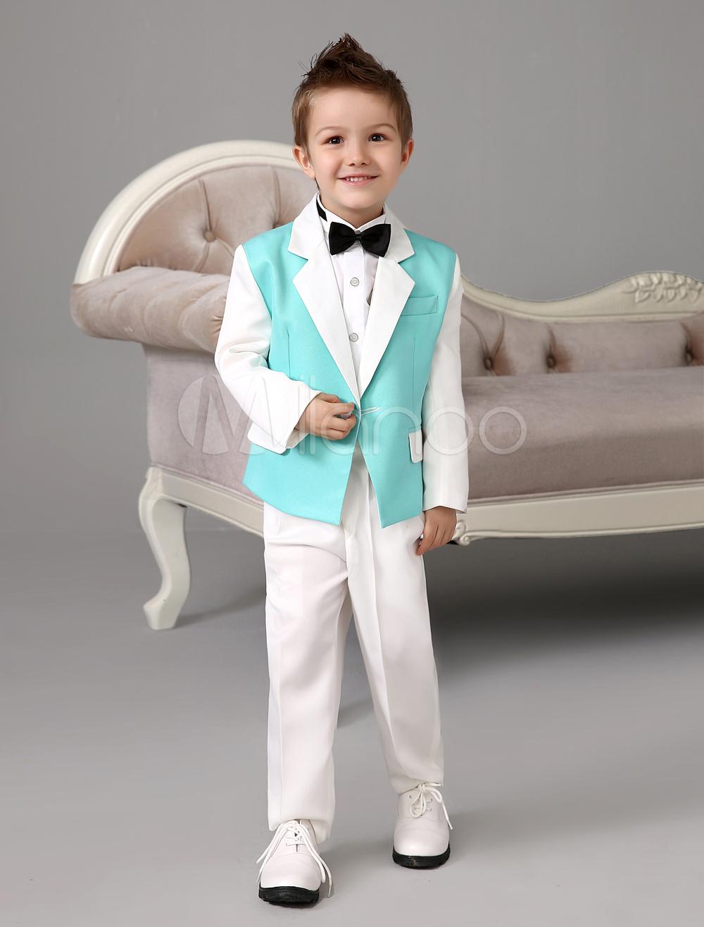 Smart Green Jacket White Sleeve Polyester Kid\'s Ring Bearer Suit ...