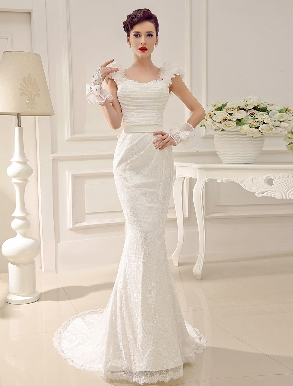 Sweetheart Neck Court Train Lace Flower Sequin Bridal Wedding Gown With Sash Milanoo