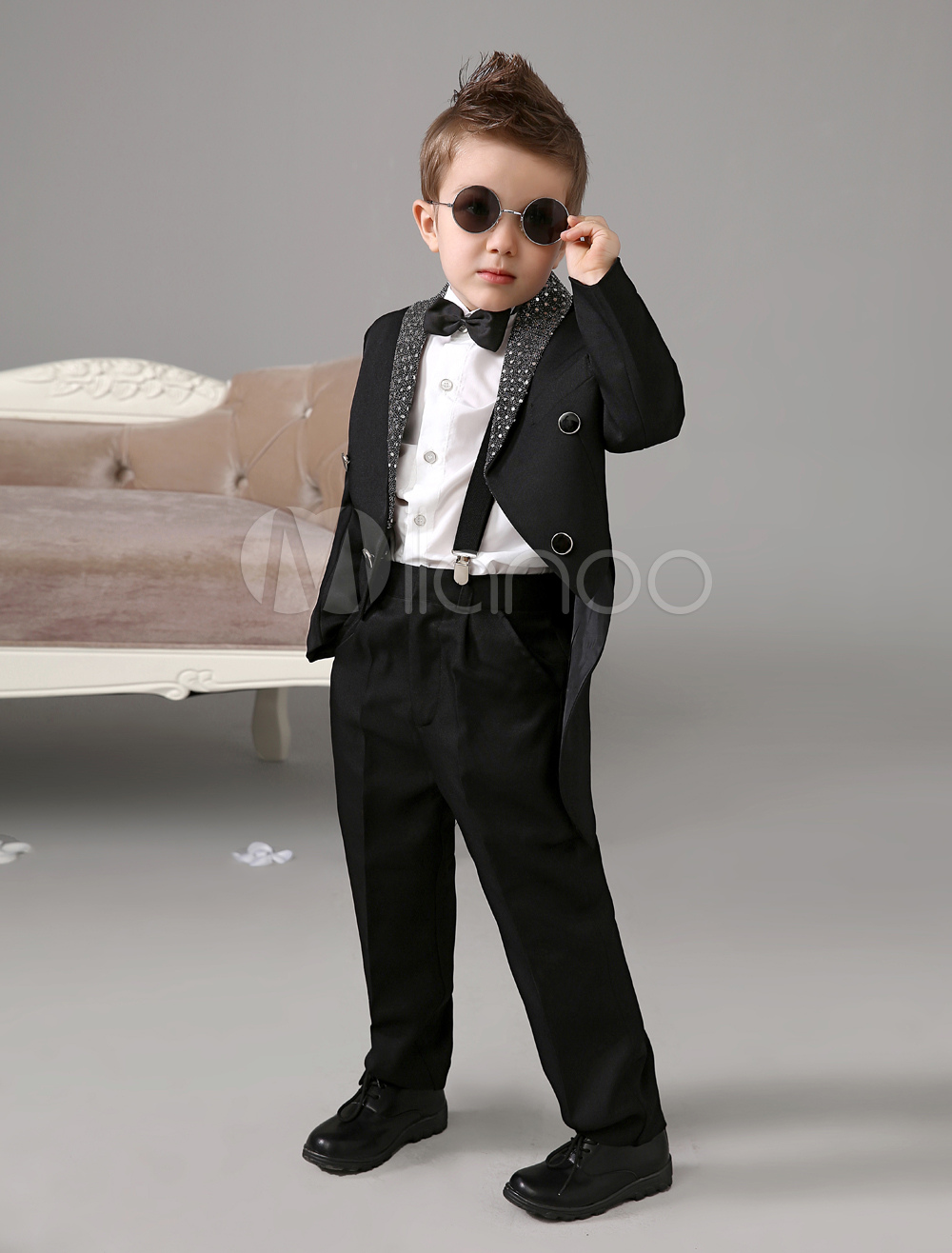 99e79211f Black Boy Suit Kids Wedding Tuxedo Jacket Pants Shirts Bow Tie Baby Boy  Suits 4 Pcs Ring Bearer Suit Set