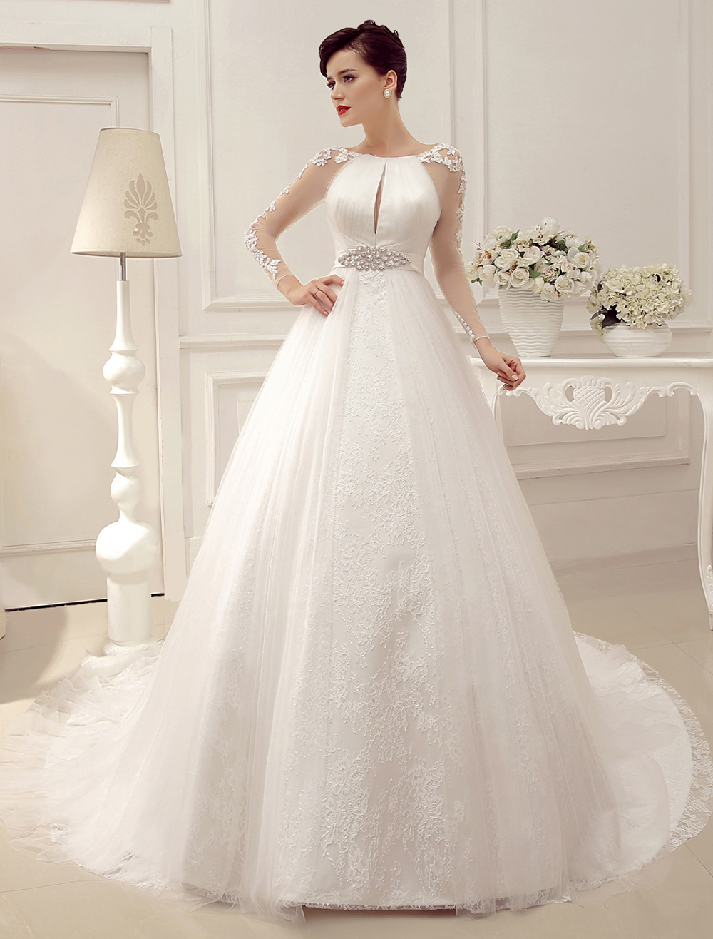 Wedding Dresses Ball Gown Bridal Dress Long Sleeve Lace Applique Beaded Rhinestones Sash Illusion Cutout Wedding Gown With Train Milanoo