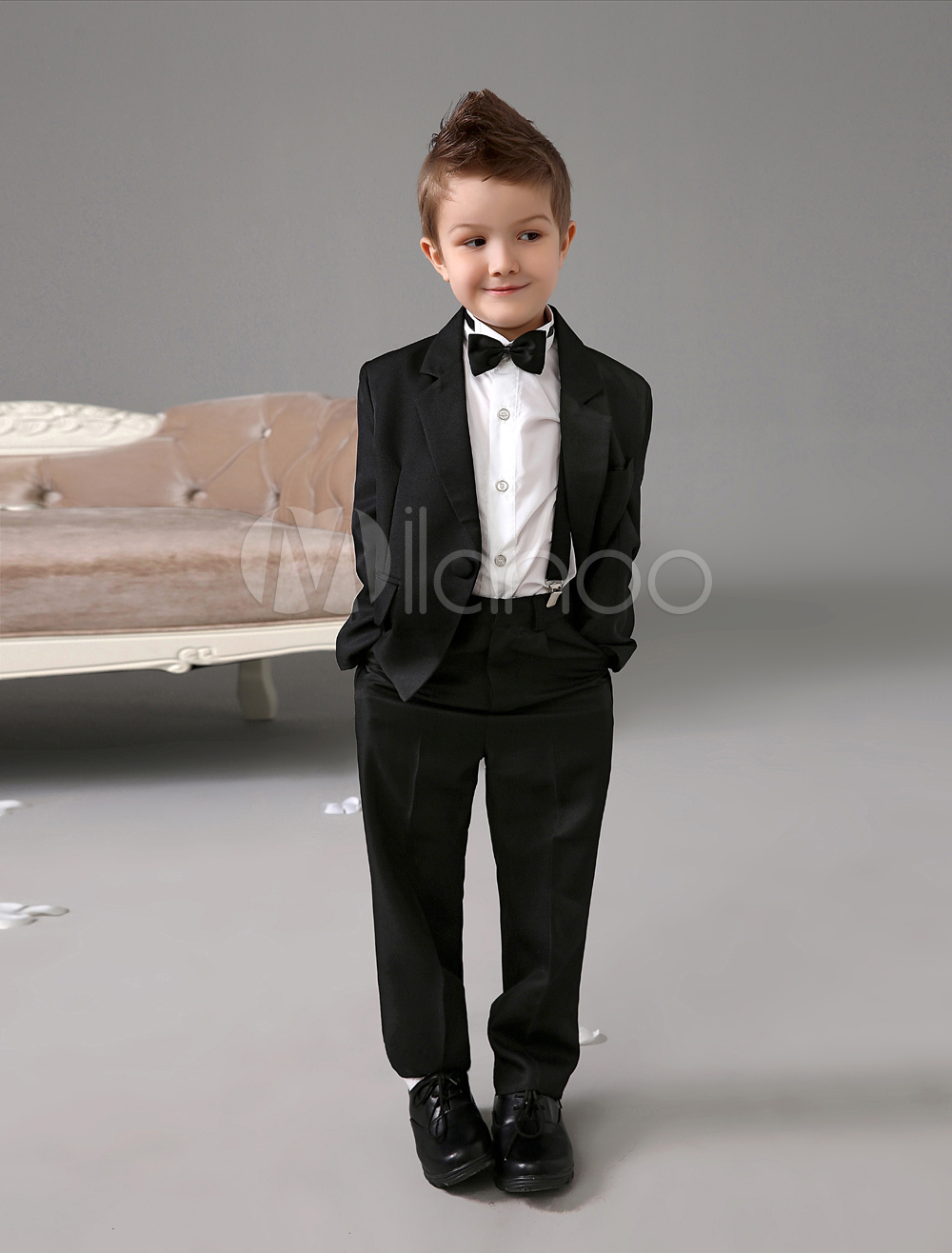 Classic Design Black Polyester Kid's Ring Bearer Suits
