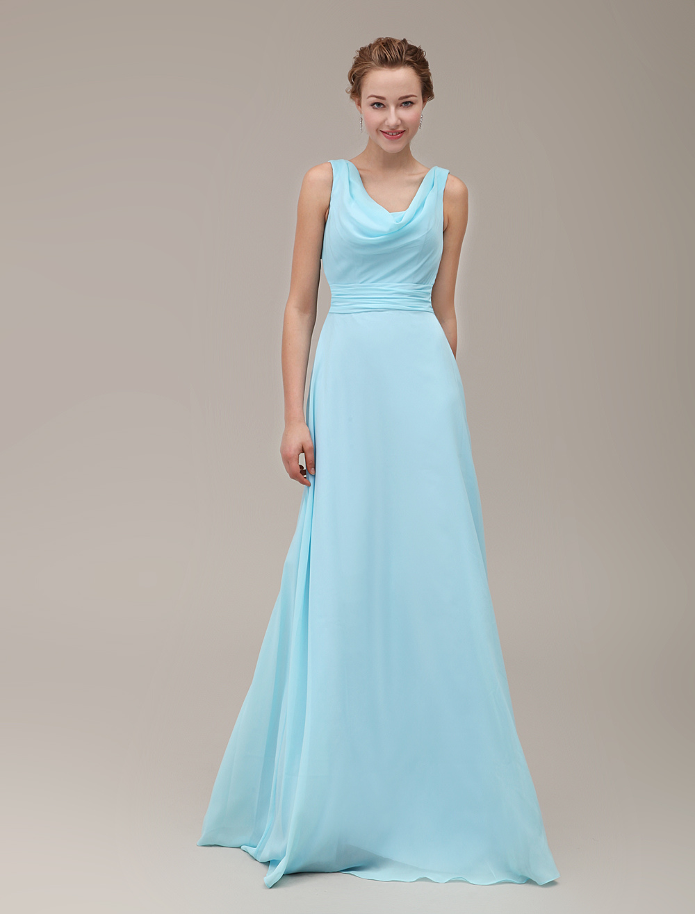 Strappy Cowl Neck Floor-Length Bridesmaid Dress With Pleated Chiffon ...