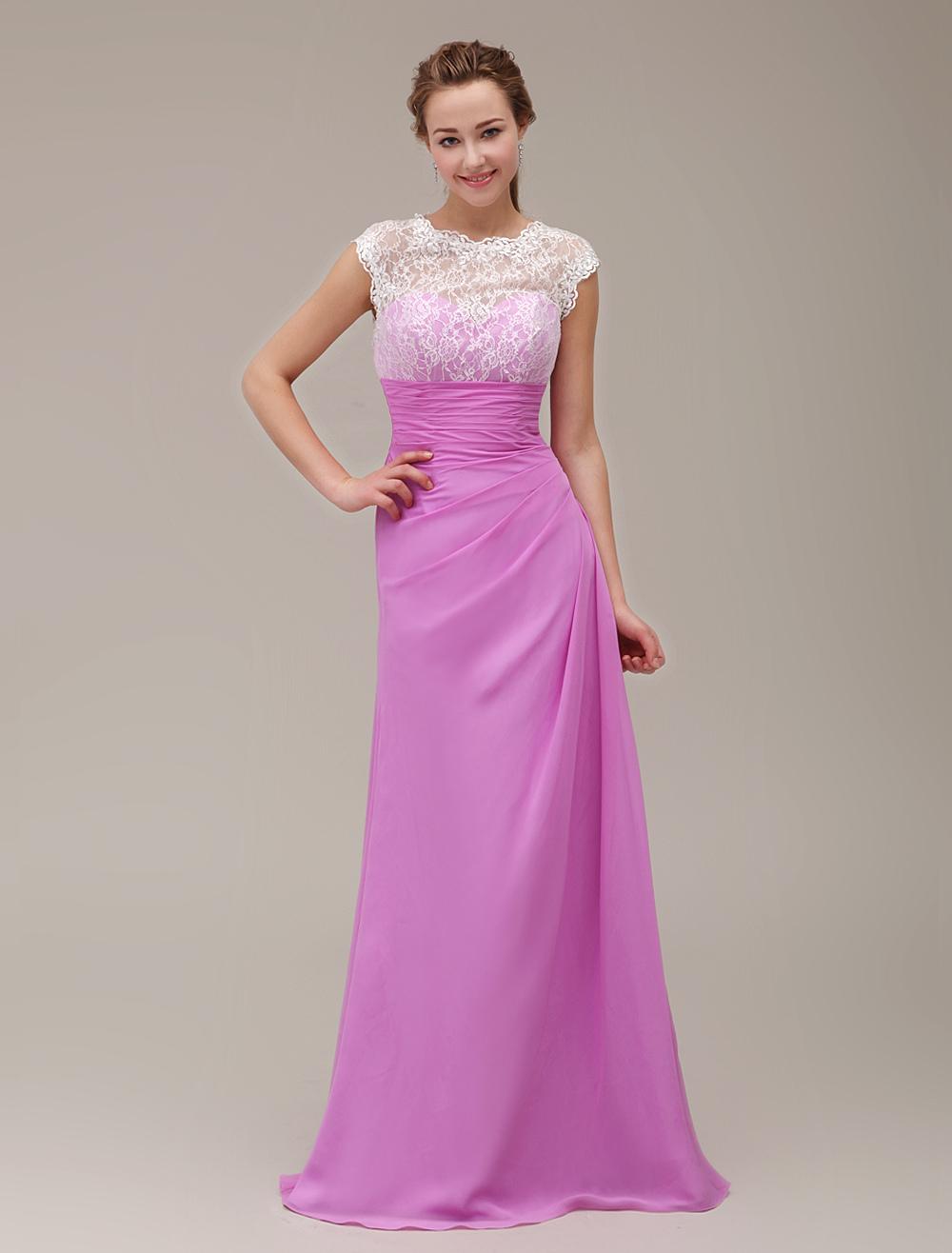 Vestido de damas de honor con pliegues y diseño hueco Milanoo ...