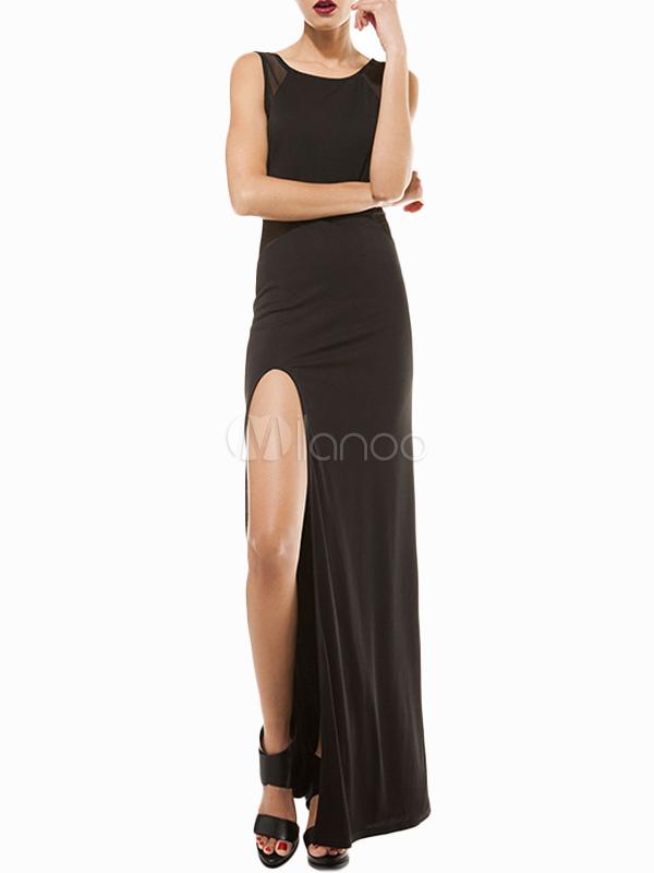 bon ajustement emballage élégant et robuste nouveau style Séduisante robe longue fendue moulante noire unicolore à dos décolleté