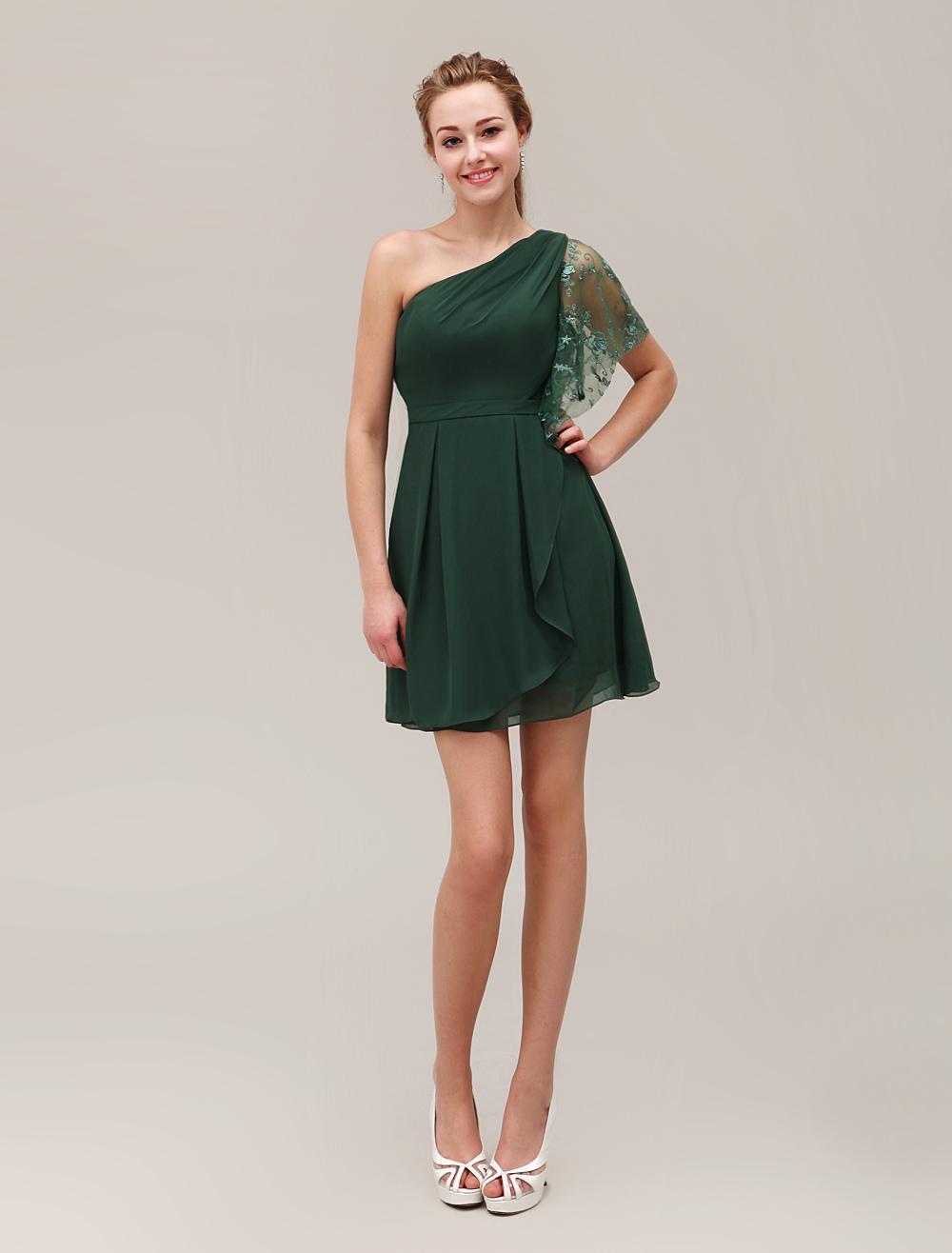 2b181555ce53 ... One-spalla pieghe moda Backless abito corto per la madre della sposa  Abiti per Ospiti. 12. -30%. colore Verde Militare