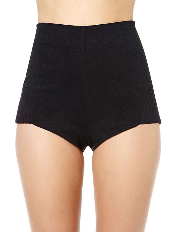 À Taille Polyester Short Moulant Unicolore Féminin Noir En Fascinant y7g6bf