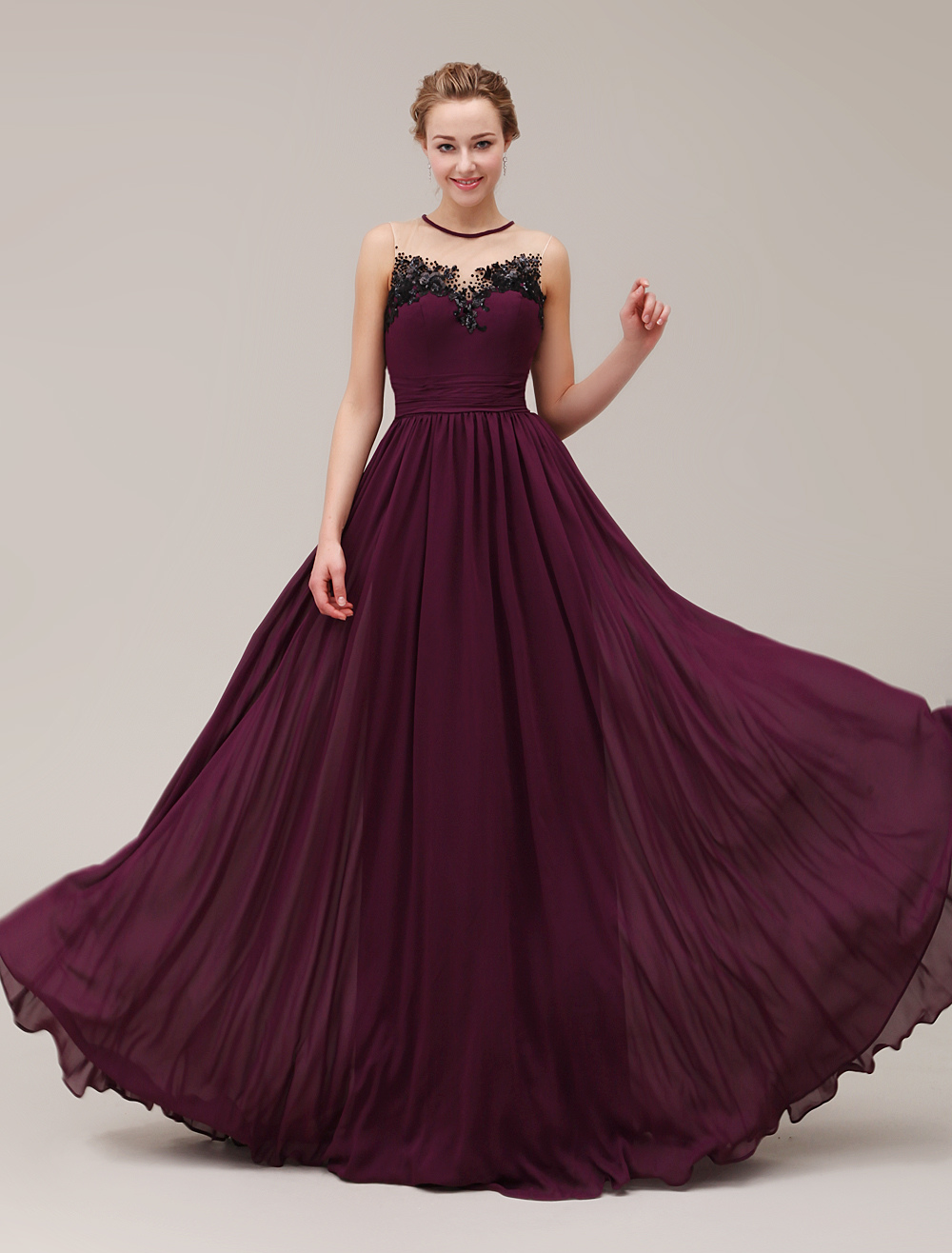 Semi-Sheer Jewel Neck Floor-Length Sequin Pleated Applique Evening Dress with Beading  Milanoo