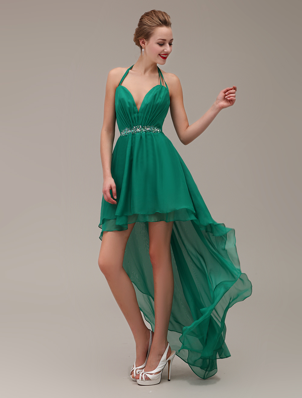 Halter Deep-Sweetheart Neck Chiffon High-Low Design Two-layered Prom Dress With Beading and Rhinestone Milanoo