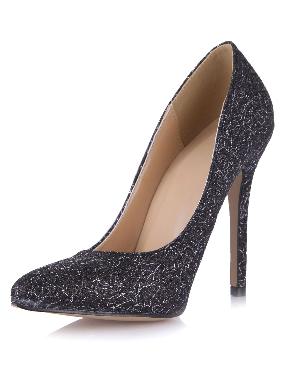 Buy Black Sequined Stiletto Heel Sexy Pointy Toe Heels for $44.64 in Milanoo store